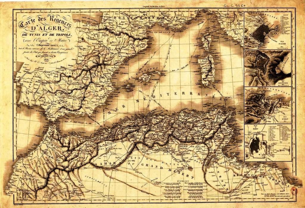 1840 empire de Maroc , régences d'Alger , de Tunis et de Tripoli